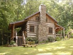 antique log cabin fireplace Little Creek Cabin - Antique Logs Rebuilt as Cozy… Small Log Cabin, Little Cabin, Log Cabin Homes, Cozy Cabin, Old Cabins, Cabins And Cottages, Cabins In The Woods, Cabins In The Mountains, Rustic Cabins