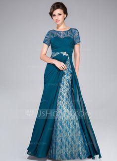 Vestidos princesa/ Formato A Decote redondo Sweep/Brush trem De chiffon Vestido para a mãe da noiva com Pregueado Bordado Lantejoulas (017041170)