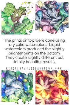 This spontaneous leaf printing process only takes watercolor paints but produces some of the most detailed, vibrant leaf prints you've ever seen! Liquid Watercolor, Watercolor Leaves, Watercolor Print, Watercolor Cards, Watercolor Paintings, Leaf Prints, Art Prints, Watercolor Projects, Art Activities For Kids
