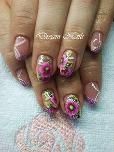 Purple flowers nails, Summer nails, spring nail art https://www.facebook.com/dreamnailskoromstudio