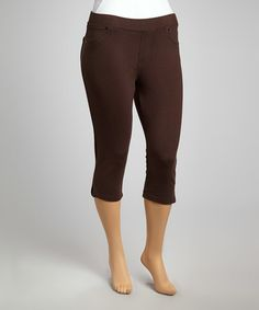 Look what I found on #zulily! Brown Classic Cropped Leggings - Plus by Poplooks #zulilyfinds