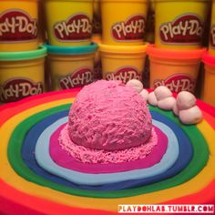 #PlayDoh Strawberry Ice-cream on a bed of Rainbows and a side of soft Clouds.