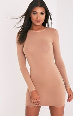 Amerie Camel Jersey Long Sleeve Bodycon Dress
