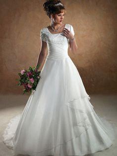 A-Line Ball Gown Princess Square Asymmetrical Waist Cap Sleeve Satin Organza Wedding Dress  $239