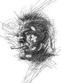 """Oeuvre by Vince Low - """"Marv"""" (Sin City) Dark Art Drawings, Amazing Drawings, Amazing Art, Awesome, Illustration Sketches, Illustrations And Posters, Drawing Sketches, Sketching, Vince Low"""