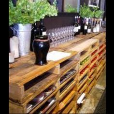 Pallets stacked to make a bar! So unique... And cheap!