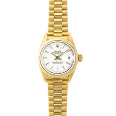 Refurbished Pre-Owned Rolex Women's President 26mm 18k Yellow Gold Stick Dial Watch Model 69178