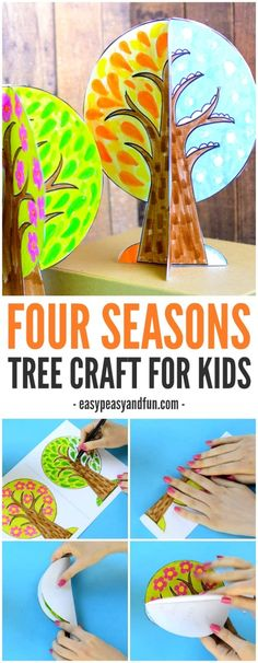 Seasons Tree Craft With Template A four season tree craft for kids! This craft is a great way to talk about seasons with children!A four season tree craft for kids! This craft is a great way to talk about seasons with children! Kids Crafts, Crafts For Kids To Make, Tree Crafts, Preschool Crafts, Fall Crafts, Projects For Kids, Art For Kids, Craft Projects, Paper Crafts