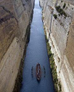 """A replica of """"Argo"""", the mythical ship that bore Jason and the Argonauts on their heroic quest for the Golden Fleece, sails in the Corinth canal in Korinthos, some 80 kms west of Athens"""