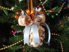 Ribbon pine cone ornaments by Chica and Jo, via Flickr