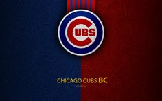 Download wallpapers Chicago Cubs, 4K, American baseball club, leather texture, logo, MLB, Chicago, Illinois, USA, Major League Baseball, emblem