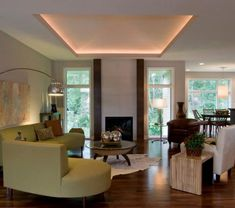 Living Room With Fireplace And Tray Ceiling : Installing Rope Lighting In Tray Ceiling