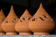 Picture of Thai traditional clay pottery in ko Kret island, thailand stock photo, images and stock photography. Picasso Portraits, Ceramic Candle Holders, Thai Art, Candleholders, Kos, Terracotta, Lanterns, Pottery, Clay