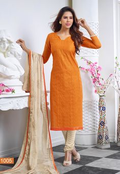 Diwali Special Carrot Orange Colour Churidar Dress Material-1005