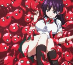 She's cute.with whatever those red things are. Virtual Hug, Tentacle, League Of Legends, Red Things, Fantasy, In This Moment, Writing Ideas, Cute, Anime