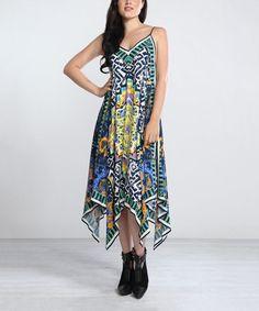 Another great find on #zulily! Blue & Yellow Kaleidoscope Handkerchief Dress #zulilyfinds