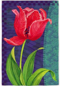 Red Tulip Garden Flag Description: Mark the season with this spring garden flag. Featuring a beautiful red tulip in full bloom, this spring garden flag is just the ticket for warm weather decor. This flag will slide onto any standard garden flag hardware using the pocket across the top.