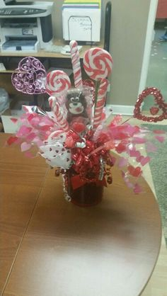Candy Bouquet my mom made me 4 Valentines Day. Plenty of bling. #CandyBouquet #CandyCrafts #candy
