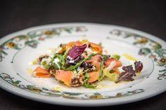 Salmon and gorgonzola cheese salad.