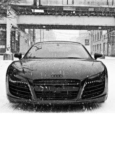 This blacked out Audi R8 looks amazing in the snow. Imagine this art on your wall. Just imagine it. See more: www.ebay.com/itm/001-Audi-R8-Super-Car-Racing-Car-concept-25-x14-Poster-/181369358094?pt=Art_Posters&hash=item2a3a74c70e?roken2=ta.p3hwzkq71.bsports-cars-we-love #spon