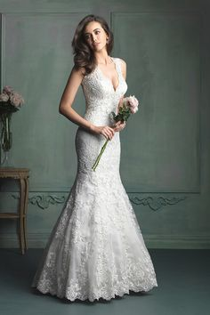 2014 V Neck Open Back Mermaid/Trumpet Wedding Dress Lace Bodice Beaded USD 259.99 FPP8XARE9H - FabPartyDresses.com