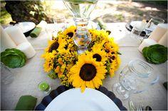 sunflower wedding ideas - such a great centerpiece idea!