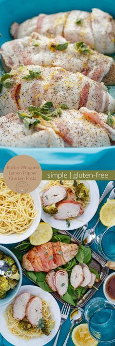 Bacon-Wrapped Lemon Pepper Chicken Pasta | http://thecookiewriter.com | @thecookiewriter | #sponsored #pasta | Cheaper and easier than you would think! Serve over gluten-free pasta and you have a GF meal :)