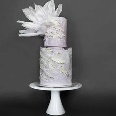 Stunning all lavender wedding cake by Lima Cakes on Satinice.com!