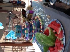 Mermaid party..love the shark! for healthy food option