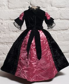 "Antique  Black Dress for French Fashion doll about 16-18"" - Huret, Jumeau, Bru, Rohmer and other"