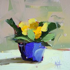 Yellow Primrose original still life oil painting by Angela Moulton 6 x 6 inches on panel prattcreekart  can ship January 24