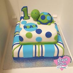 Turtle cake. First birthday. Blue and green