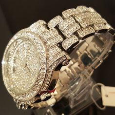 men Hip Hop Iced out White Gold Techno Pave Bling Simulated Diamond Rapper watch | United Kingdom | Gumtree