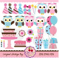 Pink Brown and Blue cute owls birthday digital clipart set for -Personal and Commercial Use-paper crafts,card making,scrapbooking,web design. $5.00, via Etsy.