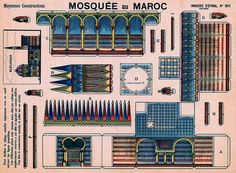 Mosque In Morocco Vintage Paper Model - by Agence Eureka - == -  This beautiful vintage paper model of a Mosque in Morocco was preserved and is shared by Agence Eureka, a French website. This model was originally published in the early twentieth century by French publisher Pellerin.