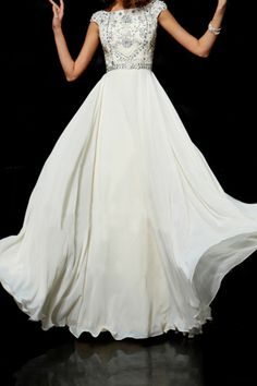Flamboyant A Line High Scoop Neck Floor Length Ivory Chiffon Beading Dress