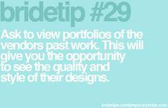 Bride Tip #29 - view vendor portfolios!