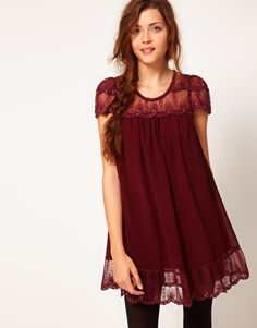 Image 1 of Darling Embellished Scallop Lace Babydoll Dress this is the one on the phone I mentioned. iiiiii love it.
