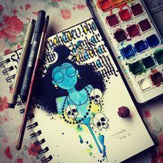 """""Shambhoo"" #illustration #inspiration #shiva #art #drawing #sketch #sketchbookofadevotee #fridayart #watercolor #pen #ink #calligraphy #morning #doodle…"""