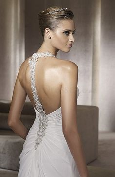 Elegant Backless Column V-neck Sleeveless Beaded Bridal Gown