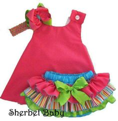 Cross Back Pinafore Dress and Sassy Pants Ruffled Diaper Cover Set Candy Shop Hot Pink Green Blue Toddler Dress, Toddler Outfits, Baby Dress, Toddler Girl, Kids Outfits, Baby Clothes Quilt, Doll Clothes, Little Dresses, Little Girl Dresses