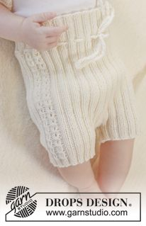 """Knitted DROPS short pants in garter st with lace pattern in the sides in """"Baby Merino"""". Size premature - 4 years ~ DROPS Design"""