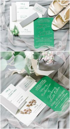 Green and white wedding invitation suite, grey envelopes, silver lettering, modern invites // Aaron and Jillian Photography Green Weddings, Southern Weddings, Wedding Invitation Suite, Hunter Green, Wedding Vendors, Big Day, Envelopes, Invites, Place Card Holders
