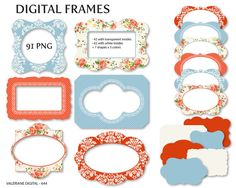 Shabby Chic Digital frames in coral and blue by ValerianeDigital  https://www.etsy.com/listing/190938066/shabby-chic-digital-frames-in-coral-and?ref=shop_home_active_15