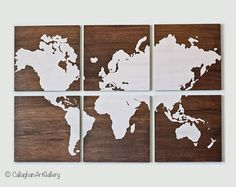 The Wood Grain World Map Collection II by CallaghanArtGallery, $225.00