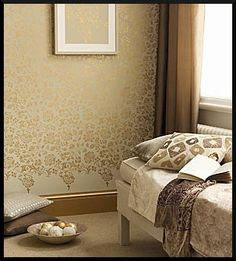 gold stenciled walls