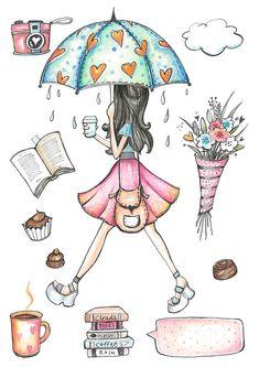Rainy Day Clipart hand painted umbrella books by MoniqueDigitalArt
