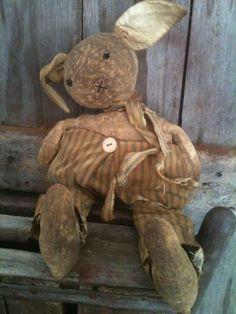 Primitive Early Look Rag STuffed Feed Sack Ticking Bunny Rabbit Doll floppy  #NaivePrimitive