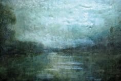 Paula Blackwell's dreamlike encaustic paintings, heavy with wax, pigment and texturing,