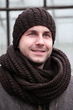 Winter hat knitwear brown men knitted beanies men by JolantaKnit